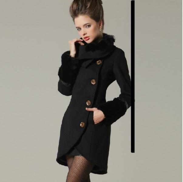 luxusný dámsky kabát s kožušinkou čierny - Bundy a kabáty - bazar ... 3f97850cf65