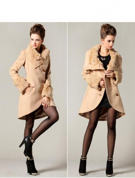 luxusný dámsky kabát s kožušinkou marhuľa - Bundy a kabáty - bazar ... 2a13df59770